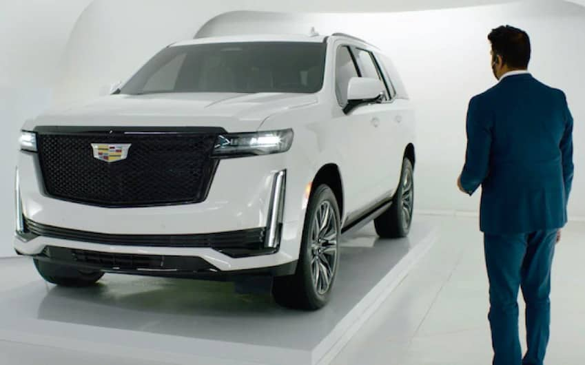 2021 Cadillac Escalade Angled View with Man