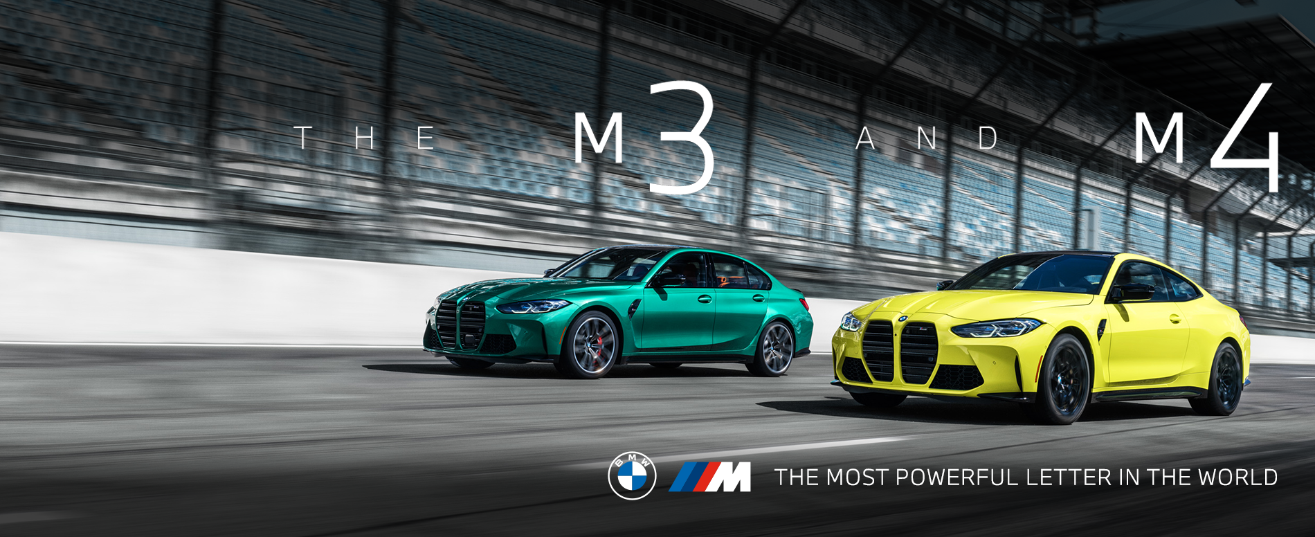 The All-New BMW M3 and M4 driving down a racetrack
