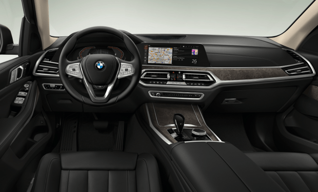 interior, dashboard of bmw x7, black