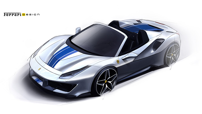 488 Pista Spider Drawing