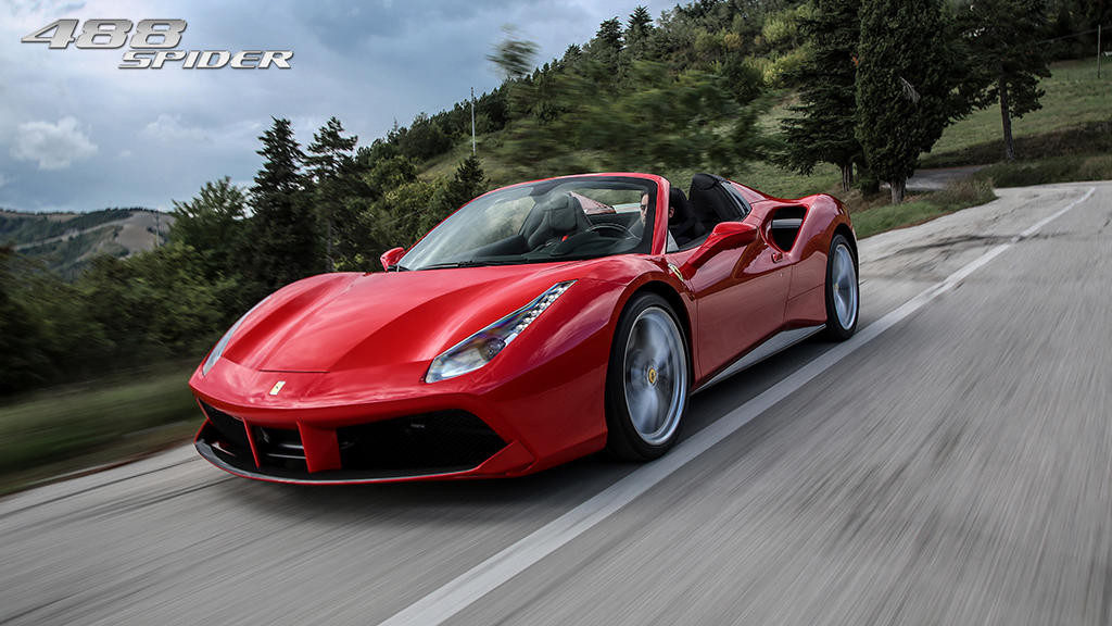 Ferrari 488 Spider on the road
