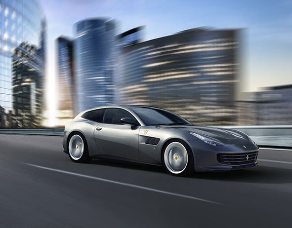 Ferarri GTC4Lusso driving in city