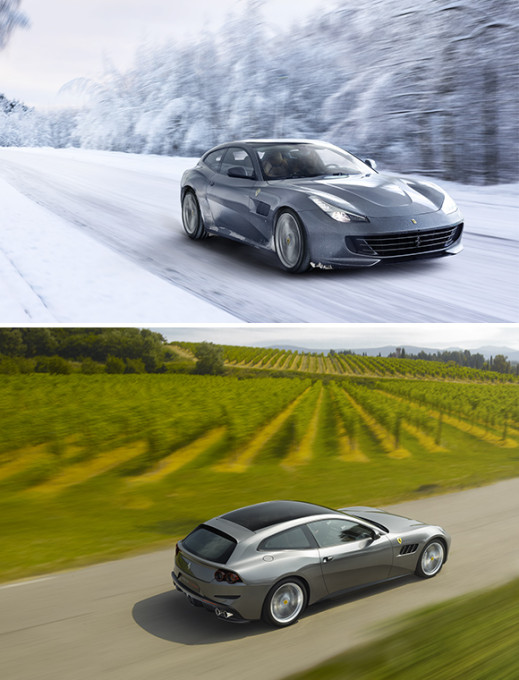 ferrari gtc4Lusso driving in snow and ferrari gtc4Lusso driving next to field