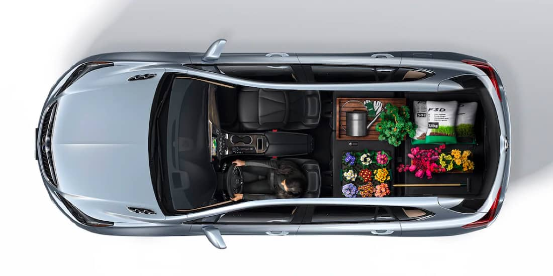 A top view of Buick Envision that shows the back sets folded down for extra storage