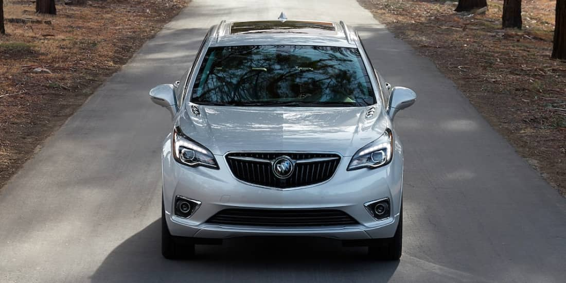 A view of silver Buick Envision in the front
