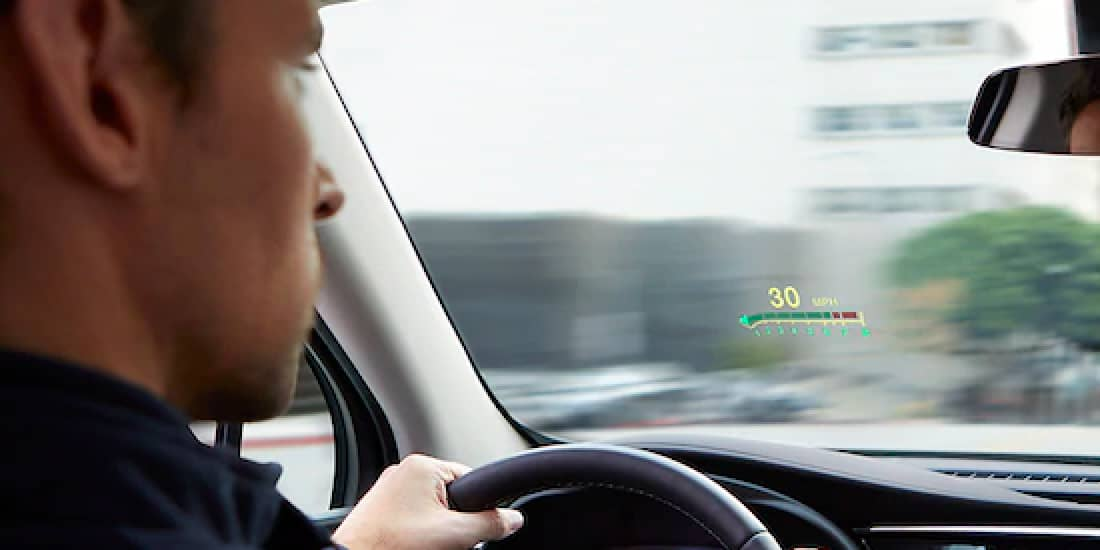 A view of Buick Envision's head's up display on the driver side windshield