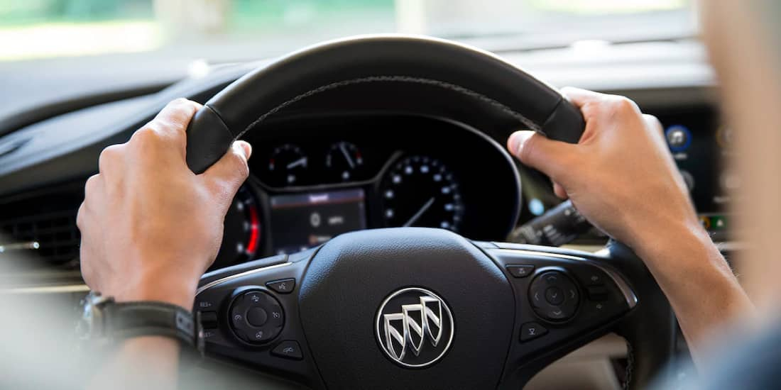 A Buick Regal Sportback steering wheel