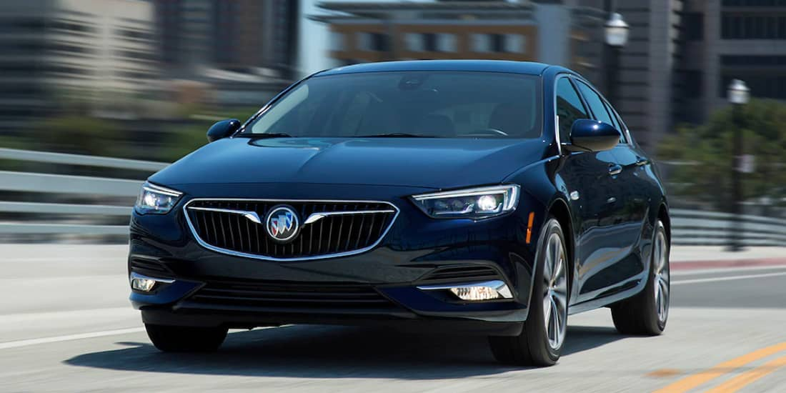 A front view of a blue Buick Regal Sportback