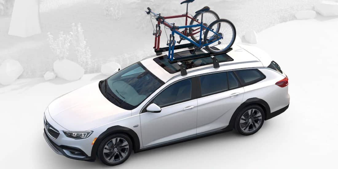 2019 White Buick Regal TourX with Roof Rails & Crossbars
