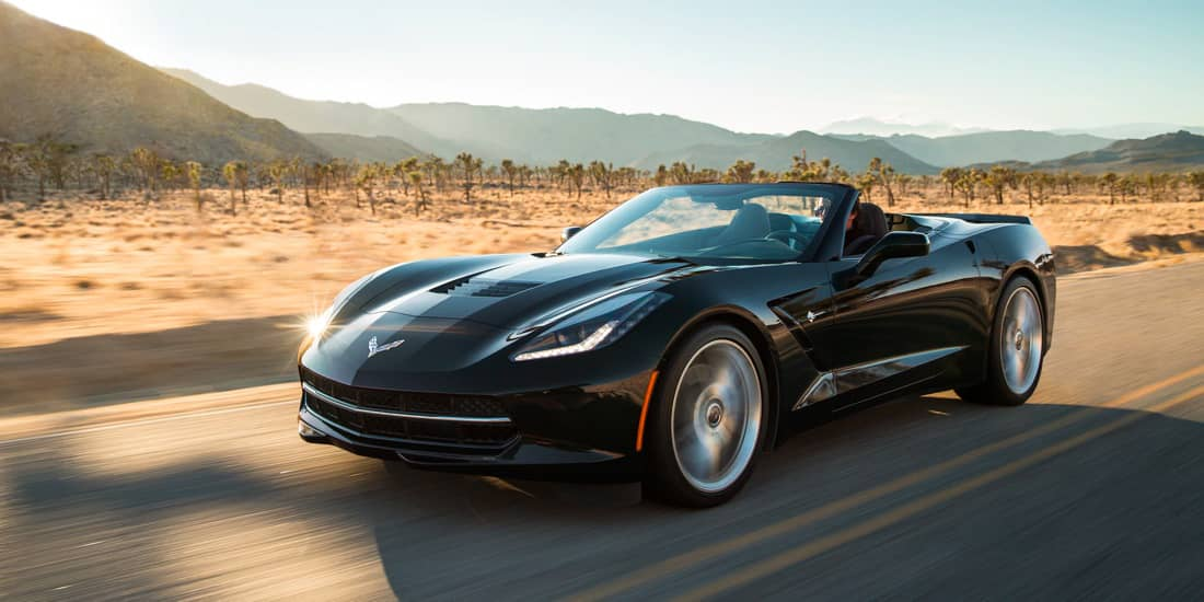 2019 Black Chevrolet Corvette Stingray Angled View Driving on Desert Road
