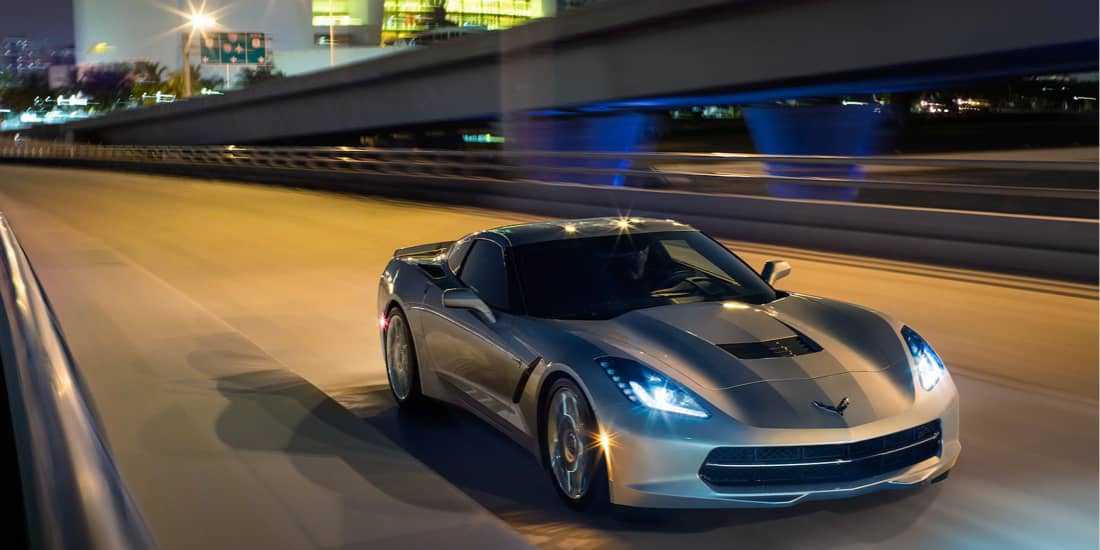 2019 Silver Chevrolet Corvette Stingray Front Angled View on Track