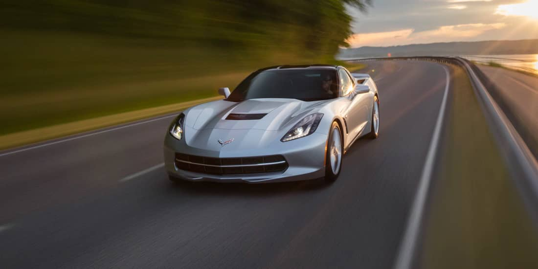 2019 Silver Chevrolet Corvette Stingray Driving Front View