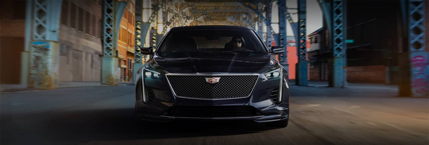 2020 Cadillac CT6-V Straight on With Woman Driving