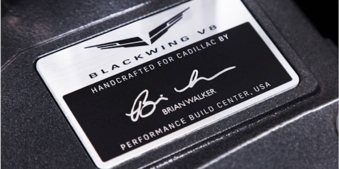 Close Up of the 2020 Cadillac CT6-V Blackwing Twin Turbo V8 Engine Signature