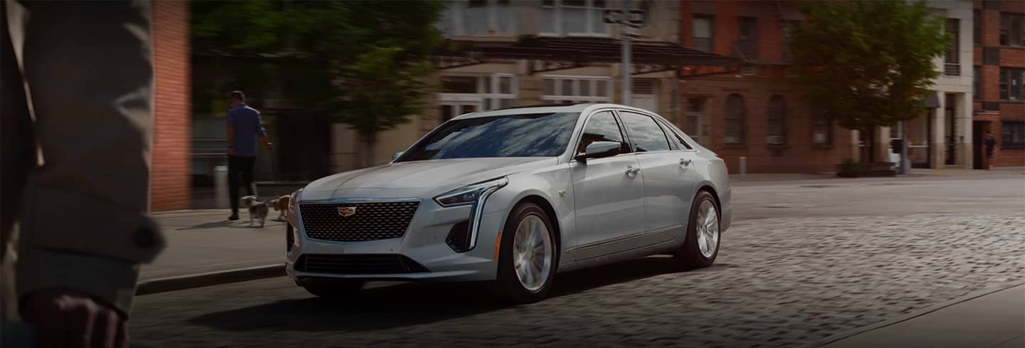 White 2020 Cadillac CT6 Front Angled View on Street