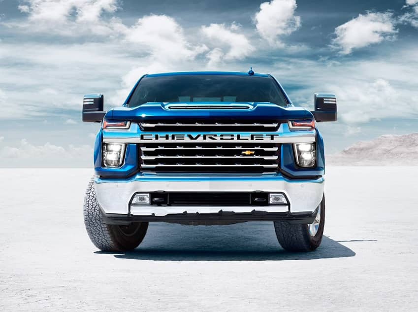 Front facing of a blue Chevrolet Silverado HD