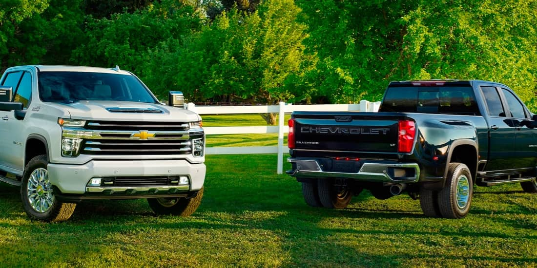 Two Silverado HDs in front of a white picket fence