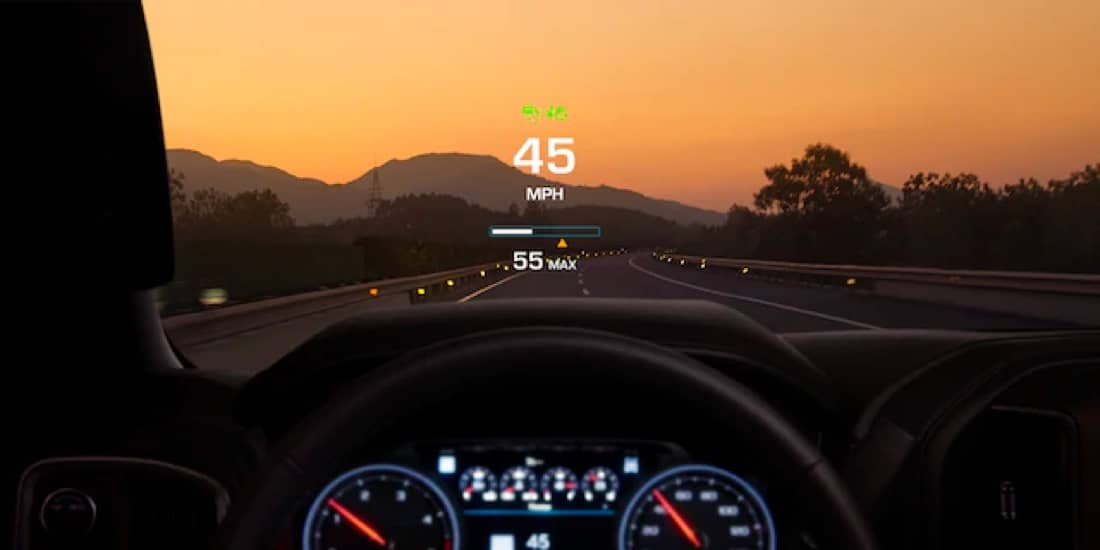 Silverado HD with heads up display over the dashboard displaying miles per hour