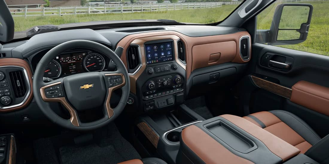 Silverado HD interior of front cab