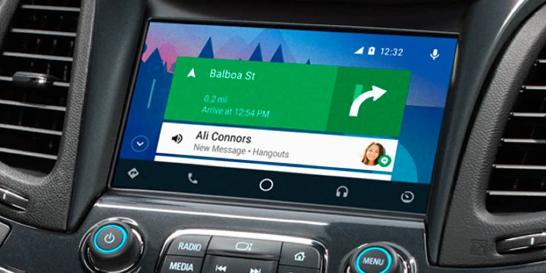 Driving using Android Auto for navigation