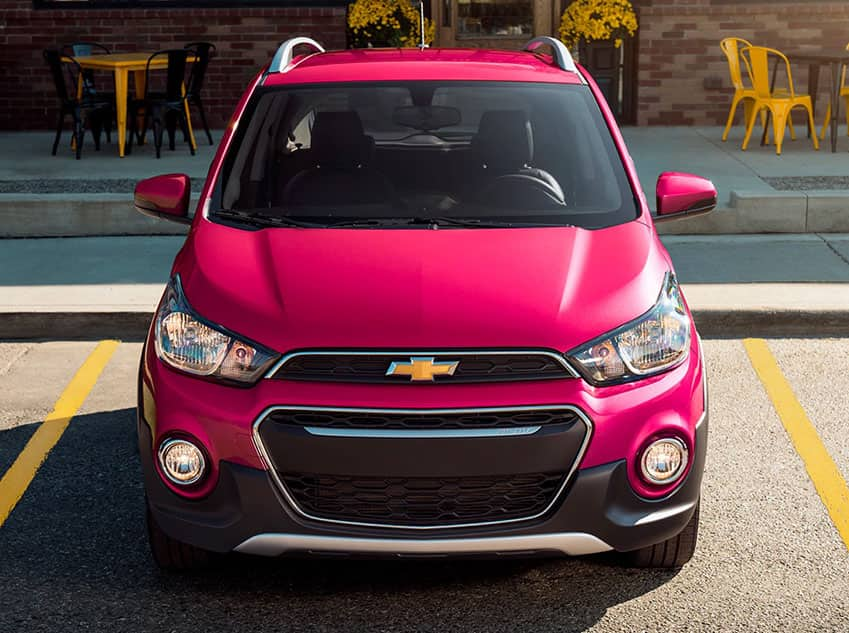 Front facing of a Red Chevrolet Spark