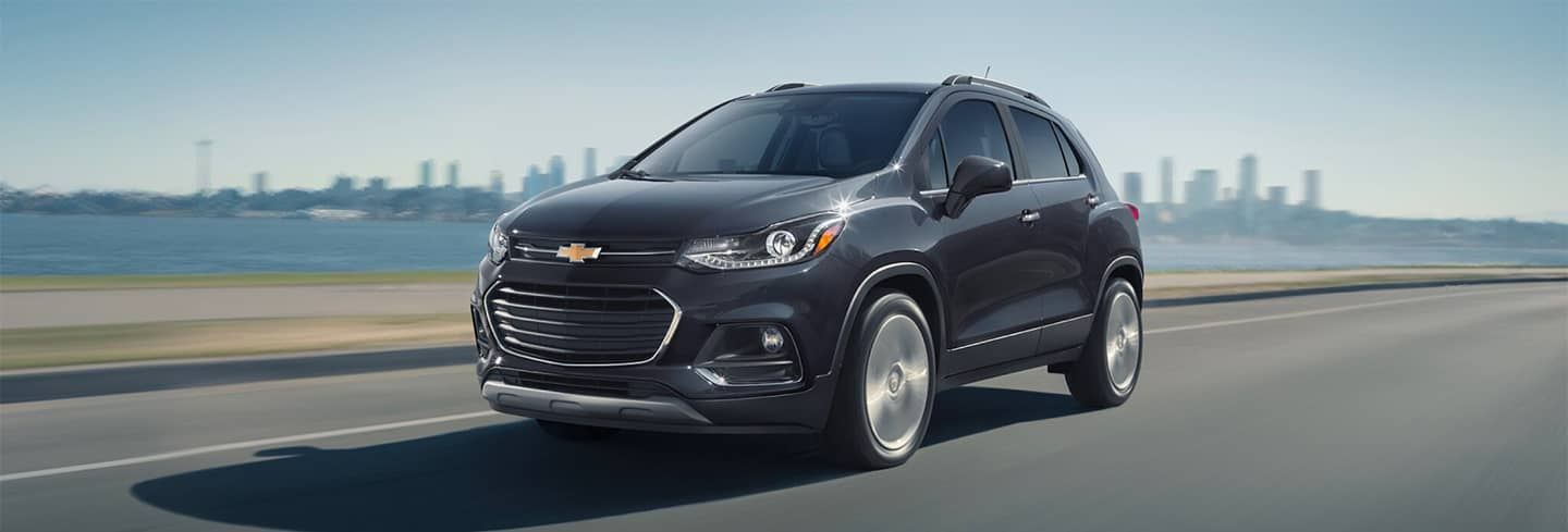 2020 Chevrolet Trax Driving with City in The Background