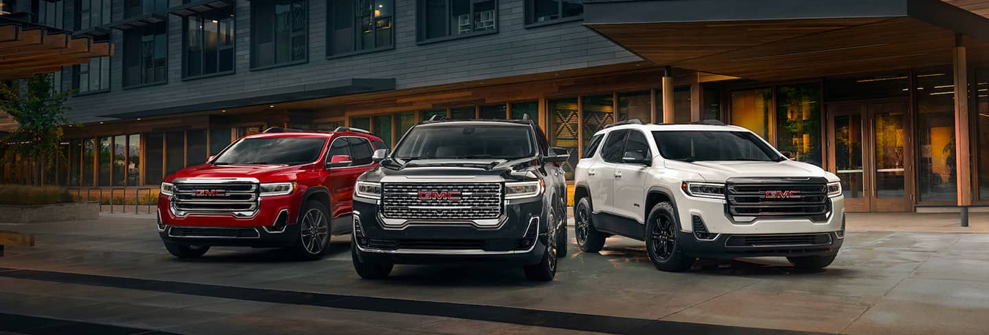 2020 GMC Acadia front facing with 3 models showing red, black, and white
