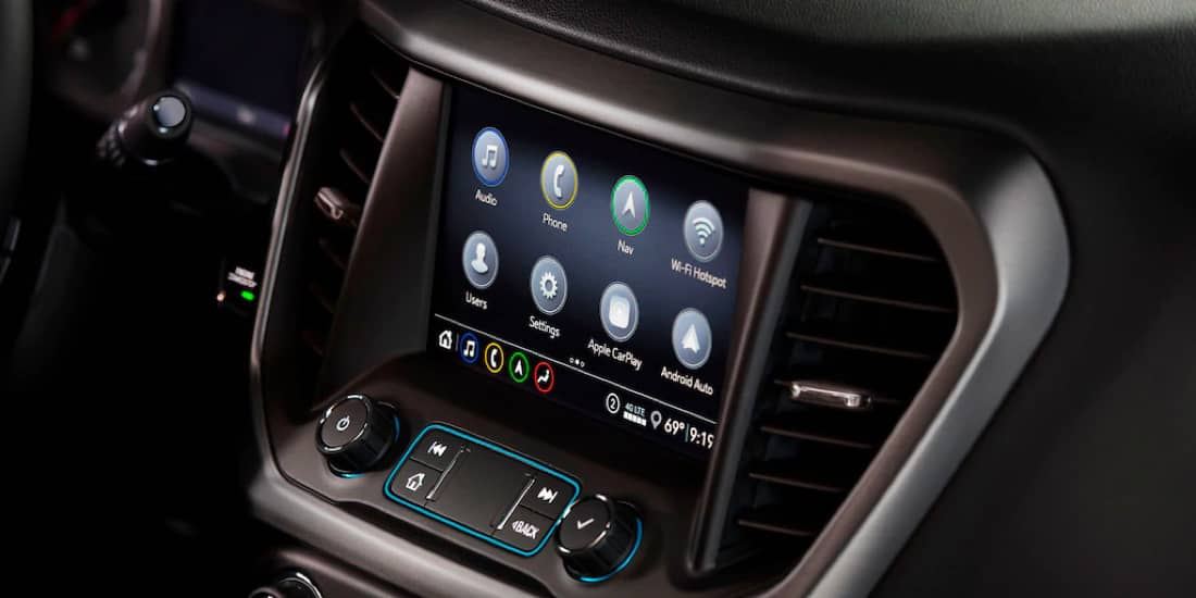 A closeup shot of Acadia's infotainment system