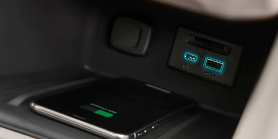 A closeup shot of Acadia's USB charging ports