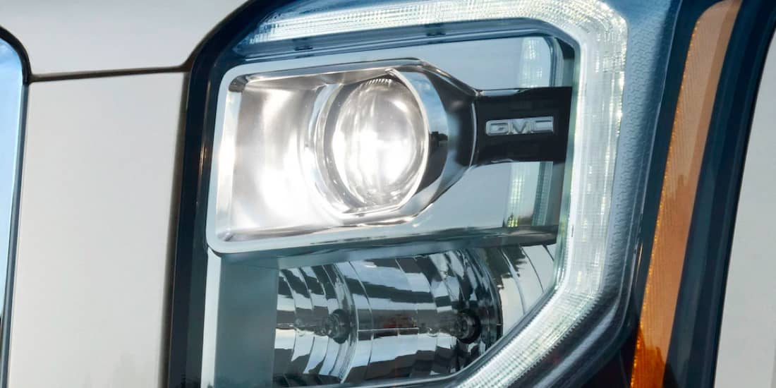 A closeup shot of Yukon's headlight