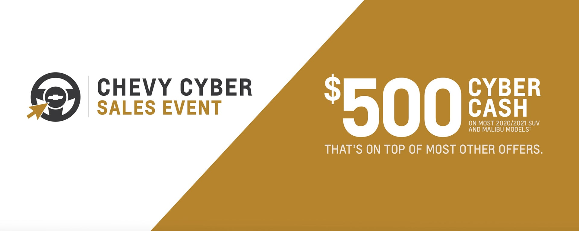 $500 Cash back Chevy Cyber Sales Event