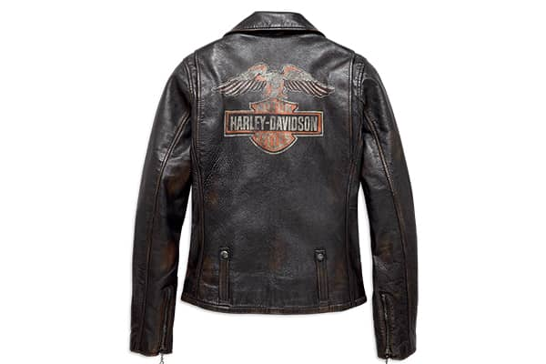 Back of a black leather Harley-Davidson leather jacket with a large logo across the shoulder blades.