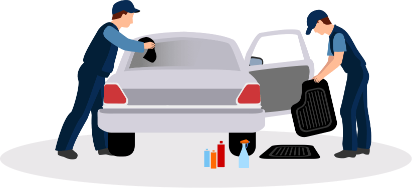 image of 2 workers cleaning a car
