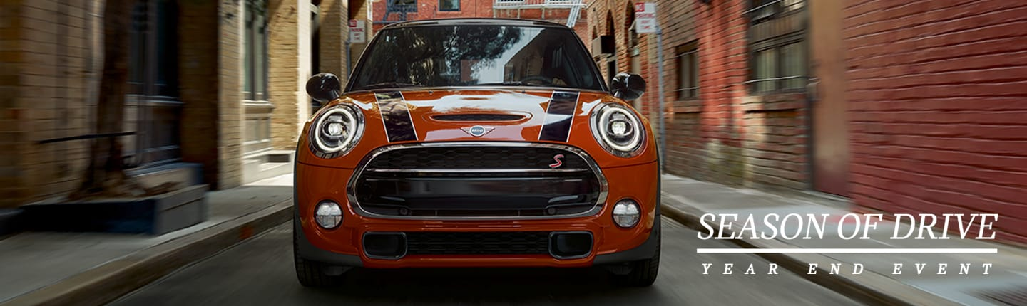 Front View MINI Cooper S Hardtop in Solaris Orange Season of Drive Year End Event