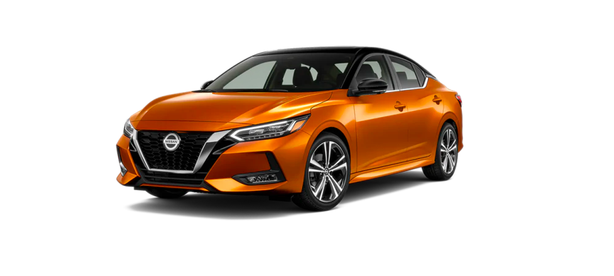Two-Tone Monarch Orange Metallic / Super Black Nissan Sedan