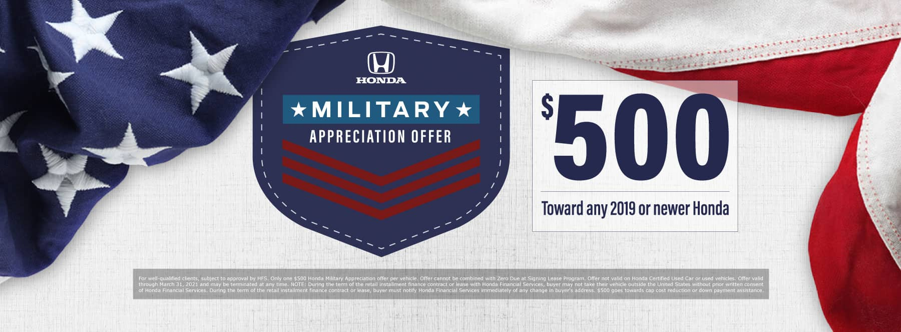 Honda Military Offer - $500 toward any 2019 or newer Honda