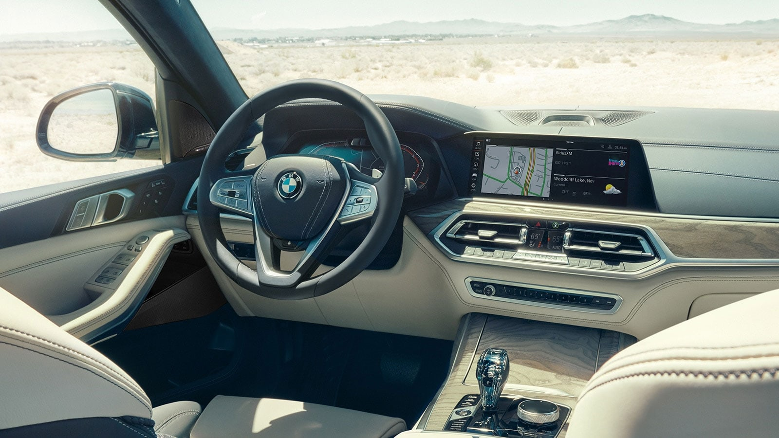 Interior view of the BMW X7 showcasing premium technology.