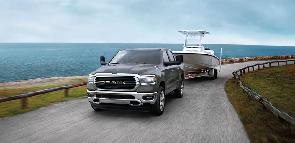 2020 Ram 1500 towing a boat